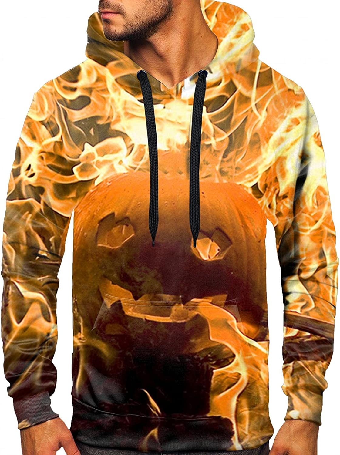 Novelty Hoodies Men 3D Printed Graphics Pocket Pullover Hooded Sweatshirts for Christmas Halloween Long Sleeve T-Shirts