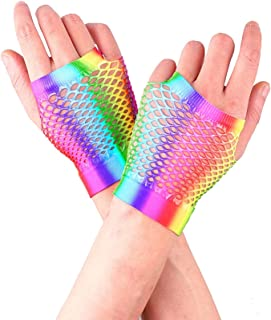 KKmeter Womens Rainbow Fishnet Fingerless Gloves 1980's Theme Party Halloween Costume Accessories