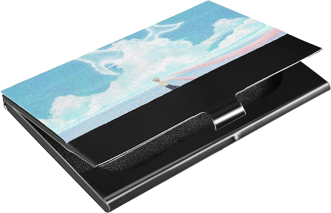 OTVEE Whale Cloud Boy On Lake Business Card Holder Wallet Stainless Steel & Leather Pocket Business Card Case Organizer Slim Name Card ID Card Holders Credit Card Wallet Carrier Purse for Women Men