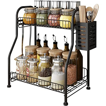 Spice Rack Countertop Organizer With Cutlery chopsticks storage shelf, 2-Tier Bathroom Shelf Organizer countertop, Kitchen Rack Organizer for Spice Can Sauce Jars Bottle With 3 Hooks (Black, Steel)