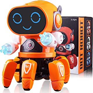 Marsjoy Kids Robot Toy Dancing Robot for Boys and Girls Electronic Singing Walking Dancing Robot Toys Colorful Flashing Lights with Music Lightening for Baby Toddlers Six Claws Robot