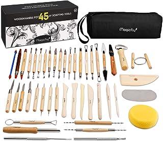 Magicfly 45pcs Outil de Poterie Sculpture Argile Burin Modelage pour Potier, Céramique, Artiste DIY, avec Sac de Rangement