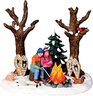 Lemax Christmas Village Staying Warm Campfire Snowshoes