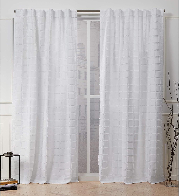 Nicole Miller Helix Hidden Tab Top Curtain Panel, White, 54x84, 2 Piece