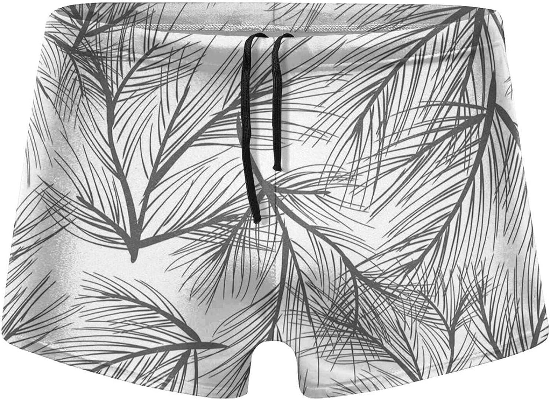 Christmas Pine Leaves Men's Swimming Trunks Fitness Swimwear Boxer Pants Board Shorts