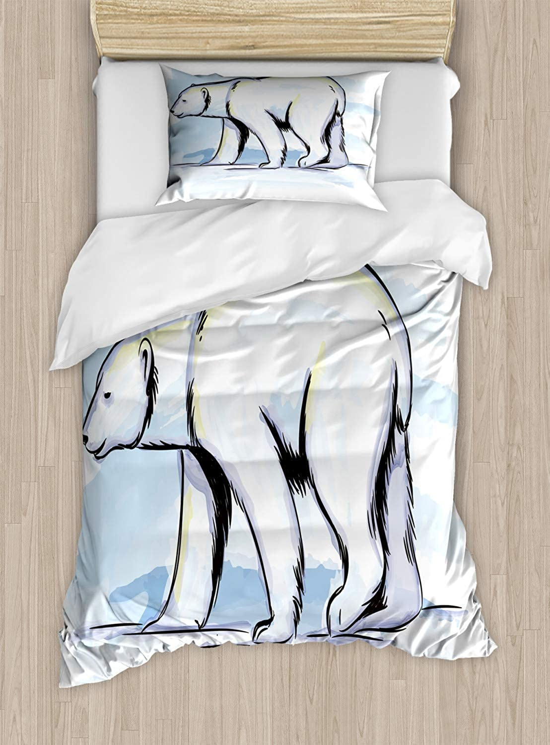 VpinkLVHOME North Pole Duvet Cover Set Twin Size,Hand Drawn Pencil Sketch of Bear Side Shot,Kids Bedding  Double Brushed Microfiber,Baby bluee Pale Yellow Purplebluee Charcoal Grey