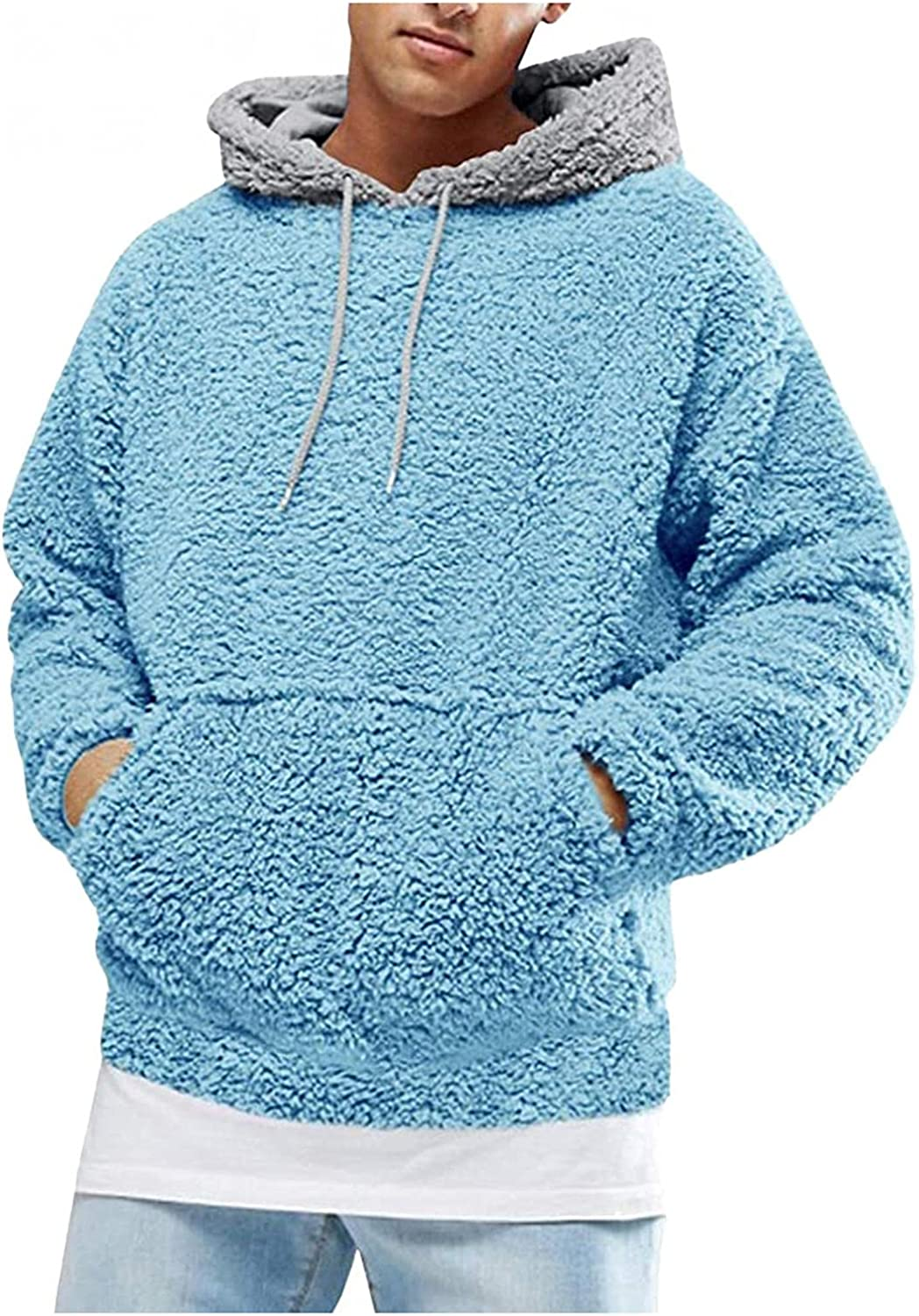Mens Fuzzy Hooded Sweatershirts Soft Comfy Fleece Hoodies Sweaters Classic Sherpa Pullover Blouse Thicken Thermal Tops