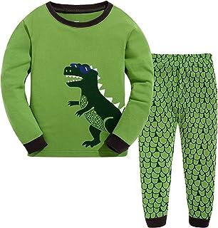 Jimmackey 2Pcs Bambino Ragazzo T-Shirt Stampa Dinosauro Aereo Razzo Camicia Cime Pantaloncini Neonato Abiti Set