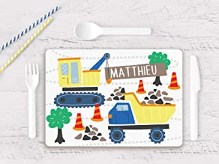 Essmak Kids Personalized Construction Crazy Placemat with Your Child's Name | Let's Build Something New| Beautiful Eat Mat...