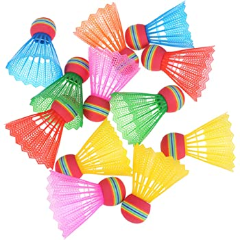 12PCS Badminton Rainbow Nylon Head Badminton Home Game Sport Entertainm