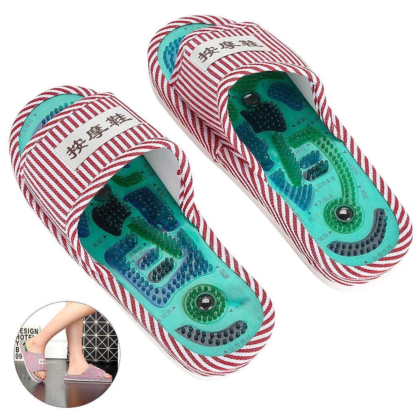 煙突状ゆるく1ペア指圧足のマッサージスリッパ鍼灸ツボマッサージサンダル靴、で、マグネットリフレクソロジー健康靴用男性女性,Pink
