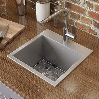 Ruvati 15 x 15 inch Drop-in Topmount Bar Prep Sink 16 Gauge Stainless Steel Single Bowl..