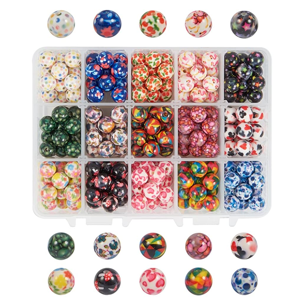 PH PandaHall 1 Box (about 270 pcs) 15 Color 10mm Round Acrylic Resin Beads with Pattern for Jewelry Making