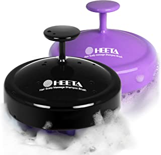 2-Pack Heeta Hair Scalp Massager, Wet and Dry Shampoo Brush Scalp Massage Brush with Soft Silicone Rubber Hair Brush for Women, Men, Pet (Purple & Black)