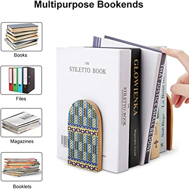 African Tribal Kente Ethnic Pattern Decorative Bookends for Shelves Wooden Book Ends Organizer Print Bookend Supports Pair