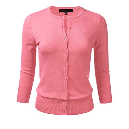 4a0378dc5663 FLORIA Women s Button Down 3 4 Sleeve Crew Neck Knit Cardigan Sweater (S-
