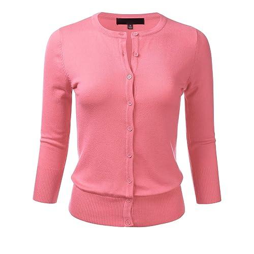 b4619688b335 FLORIA Women s Button Down 3 4 Sleeve Crew Neck Knit Cardigan Sweater (S-