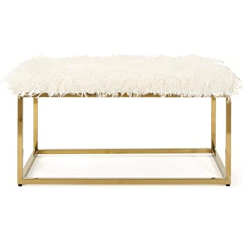 Christopher Knight Home Mallory Fauc Furry Long Fur Ottoman with Stainless Steel Frame, White / Steel Golden