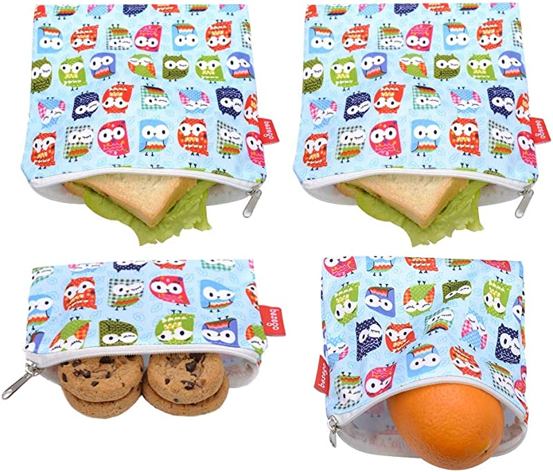 4 PCS Reusable Sandwich Snack Bags Eco Friendly And Safe Sandwich Bags Washable Lunch Bags