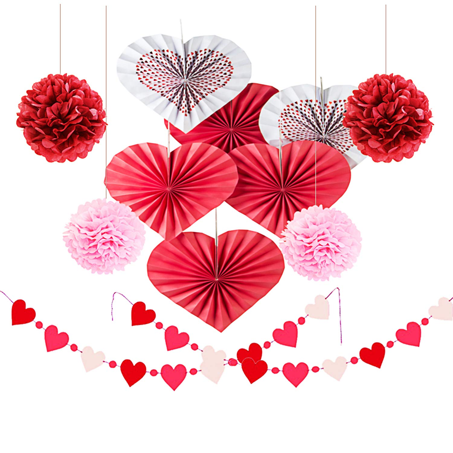 12 Pcs Heart Hanging Paper Fan Set (6 Pcs Heart Hanging Fan + 4 Pcs Paper Pom Poms + 2 String Heart Garland Bunting) Party Birthday Wedding Valentine's Day Decorations