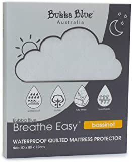 Bubba Blue Breathe Easy Waterproof Quilted Bassinet Mattress Protector, White