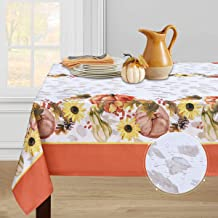 Thanksgiving Tablecloth, Pumpkin and Maple Leaf Table Cloth, Autumn Harvest Leaves and Flowers Tablecloths, Waterproof Tab...