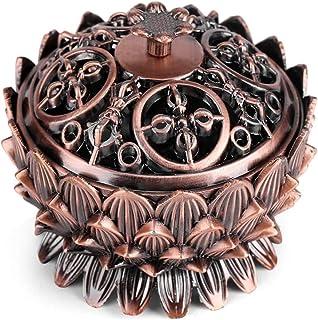 Vintage Lotus Incense Burner Bowl Chinese Copper Sage Censer Home Backflow Incense Holder (Small Size)