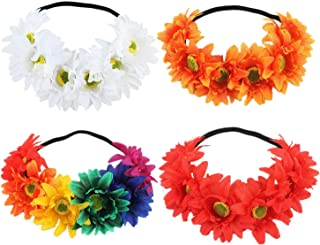 4 Pack Large Flower Crown Floral Wreath With Elastic Headbands Hair Garland Tiara Wedding Bridal Headpiece White Yellow Green Sunflower Daisy Hairbands Hawaiian Party Accessories for Kids Women Girl