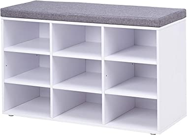 DINZI LVJ Shoe Storage Bench with Cushion, Cubby Shoe Rack with 9 Cubbies, Adjustable Shelves, Multifunctional Shoe Organizer