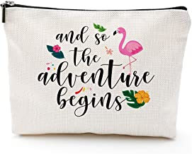 So Adventure Begins Wedding Gifts for Bride Cosmetic bag Bachelorette Party Gift Personalized Travel Makeup Bag Flamingo