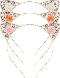 Jovitec Cat Ears Headband Crystal Rhinestone Cute Cat Headband Cat Ears Hair Hoop Hairbands Cosplay Costume Party for Women Girls, 3 Pieces