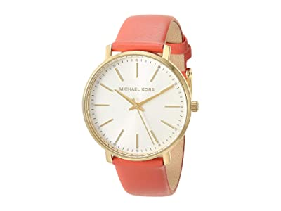 Michael Kors Pyper Three-Hand Leather Watch (Pink/Coral) Watches