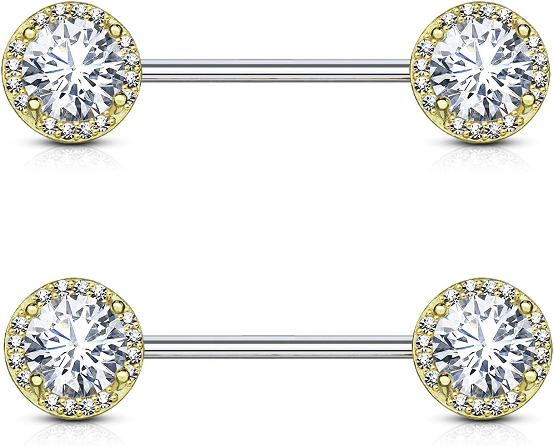Sparkle Circle Large CZ Center Nipple Piercing Rings Steel Barbells - 14 Gauge 9/16