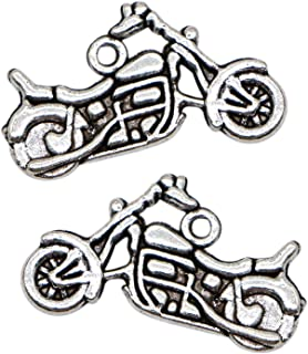 WSSROGY 100Pcs Silver Tone Motorcycle Charms Pendants DIY for Jewelry Pendants Necklace Making