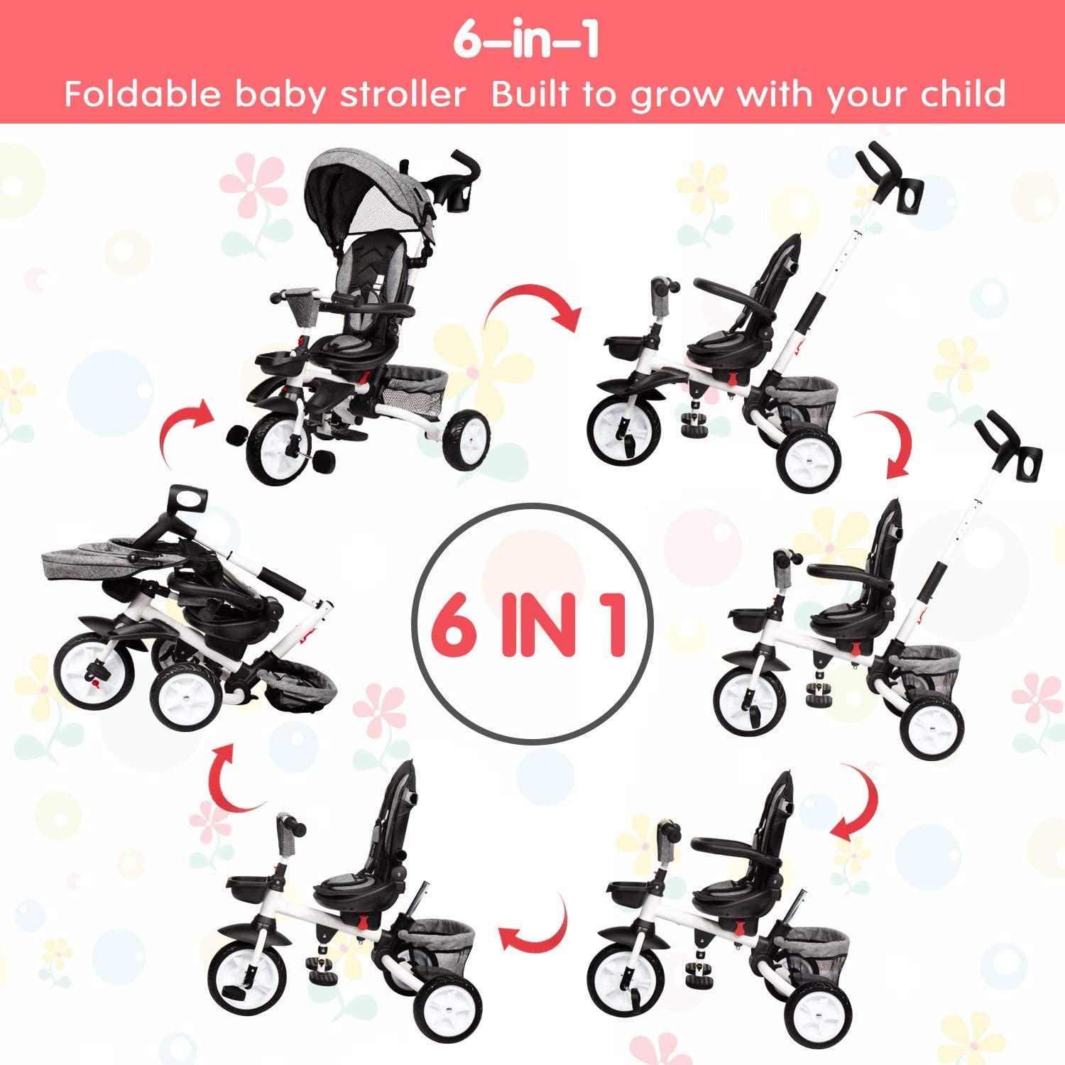 Detachable Guardrail Adjustable Canopy 6-in-1 Kids Tricycle with Adjustable Push Handle Baby Tricycle Foldable Steer Stroller for Toddler Boys and Girls Safety Harness