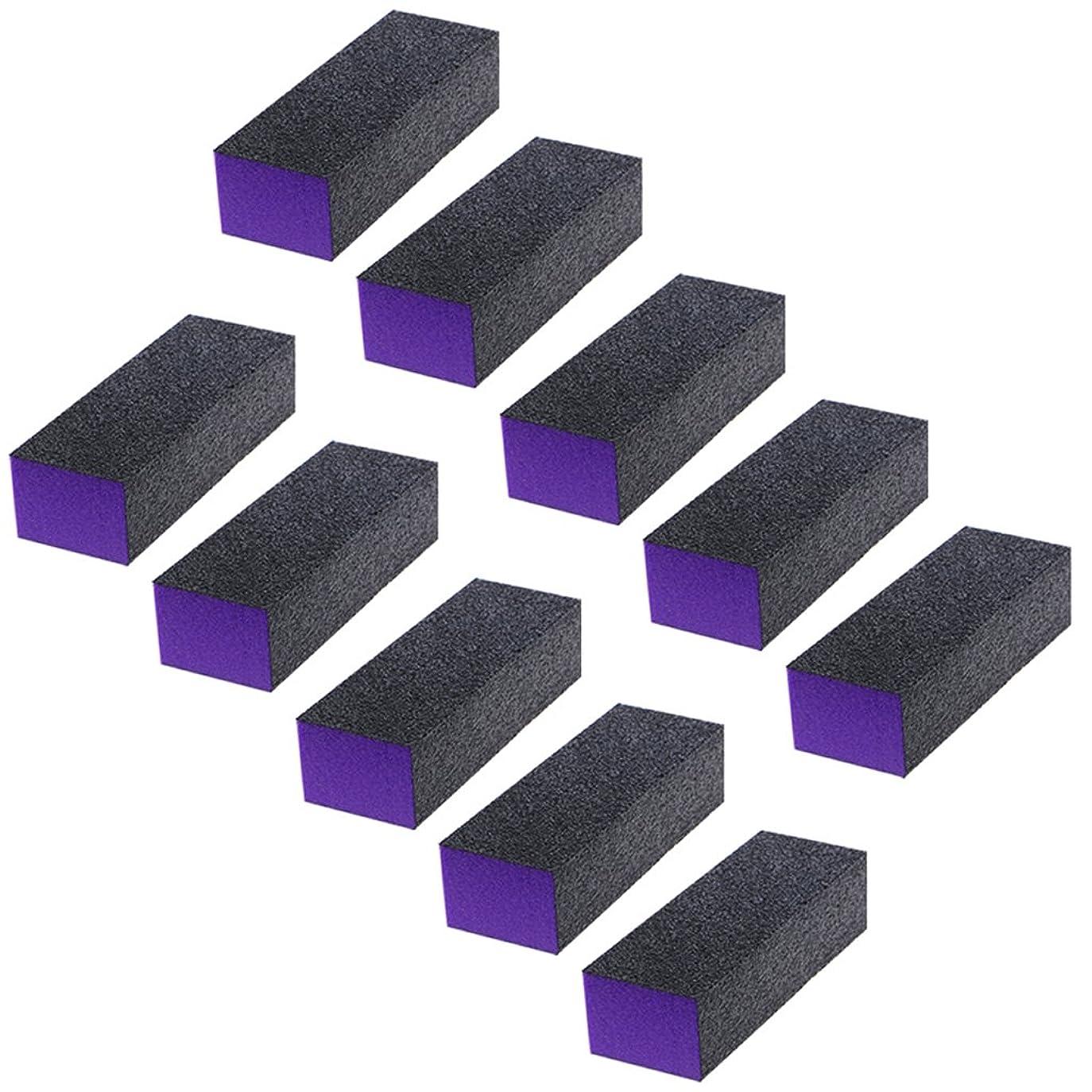 富豪聴覚障害者数学的なジャッキー黒紫豆腐ブロック10個ピース黒紫バッファーバフ研磨サンディングブロックファイルグリットネイルアートツールセット