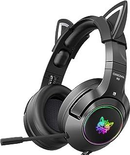 ONIKUMA - Auriculares para juegos con orejas de gato extraíbles, para PS5, PS4, Xbox One (adaptador no incluido), Nintendo Switch, PC, con sonido envolvente, luz LED RGB y micrófono retráctil con cancelación de ruido (negro)