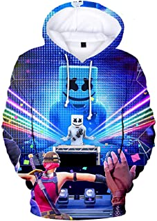 Mogogo Men's Relaxed Fit Tshirt Stylish 3D Funny Print Hooded Sweatshirt