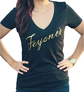 It's Your Day Clothing Gold Feyonce Black Soft Women's V Neck Shirt Gold Fiance Shirt for Women