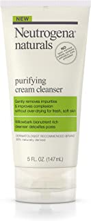 Neutrogena Naturals Purifying Daily Facial Cream Cleanser with Natural Salicylic Acid from Willowbark Bionutrients, Hypoallergenic, Non-Comedogenic & Sulfate-, Paraben- & Phthalate-Free, 5 fl. oz