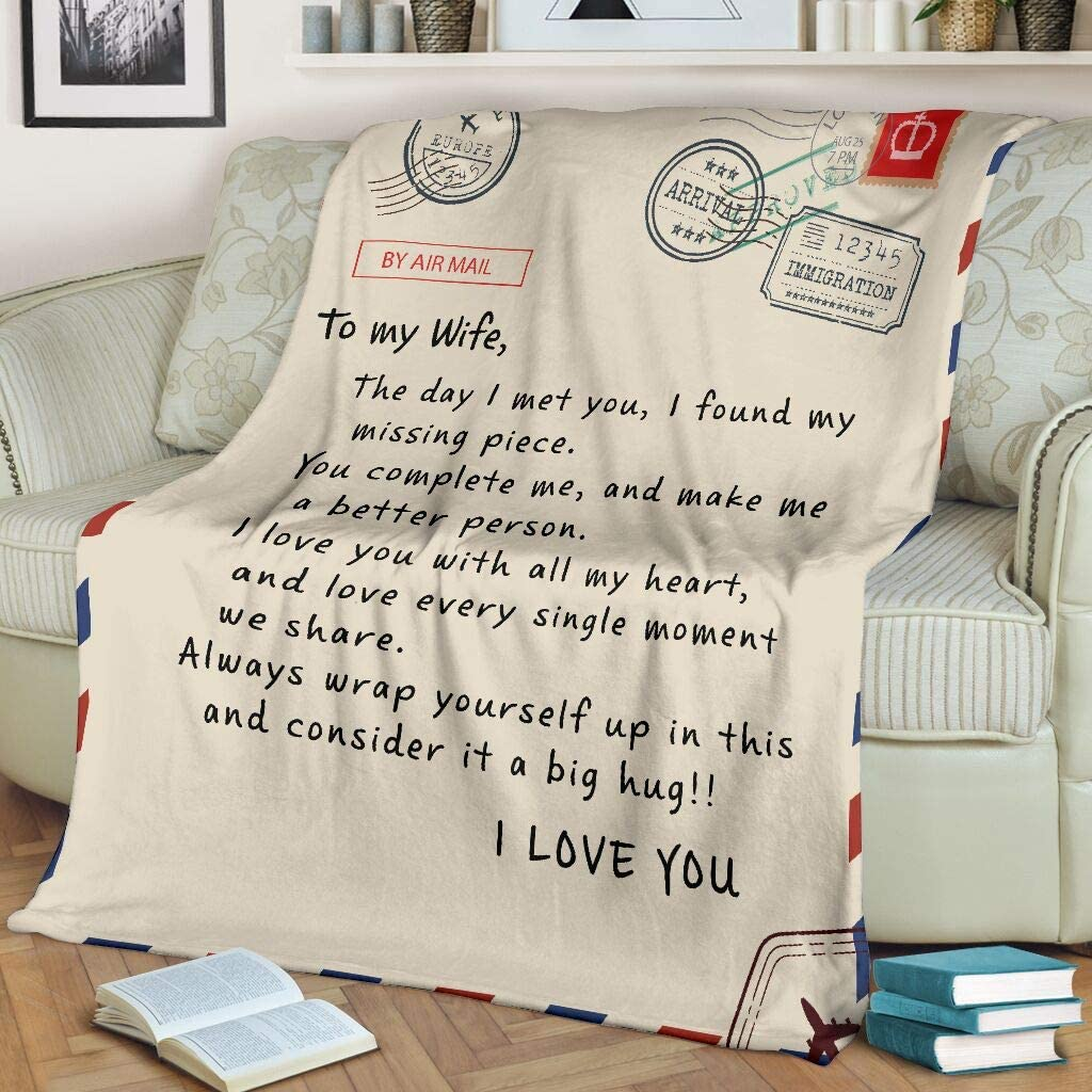Personalized to My Wife Letter 限定特価 Fleece Blanket from Husban 卸直営 Sherpa