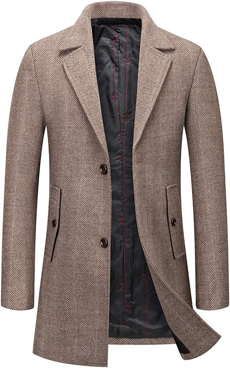 Men's Wool Blend Pea Coat Notched Lapel Slim Fit Long Quilted Lined Thick Jacket