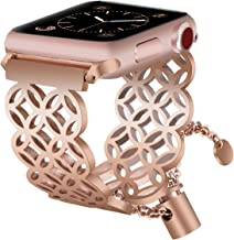 VIGOSS Jewelry Metal Bangle Compatible with Series 4 44mm Apple Watch Band 42mm Women Luxury Copper Rose Gold Cuff Bling Hollow Bracelet Stainless Steel Strap for iWatch Series 4/3/2/1 Window Grille