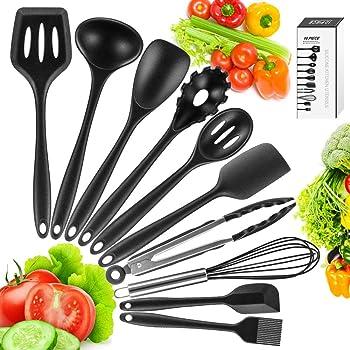 Compra Newdora Utensilios de Cocina de Silicona Resistentes al Calor, 10 Piezas Herramientas antiadherentes para Hornear en la Cocina, Negro en Amazon.es