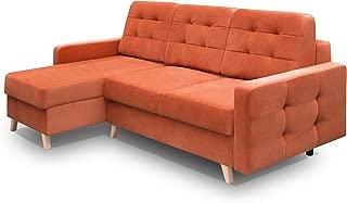 Vegas Futon Sectional Sofa Bed, Queen Sleeper with Storage, Orange