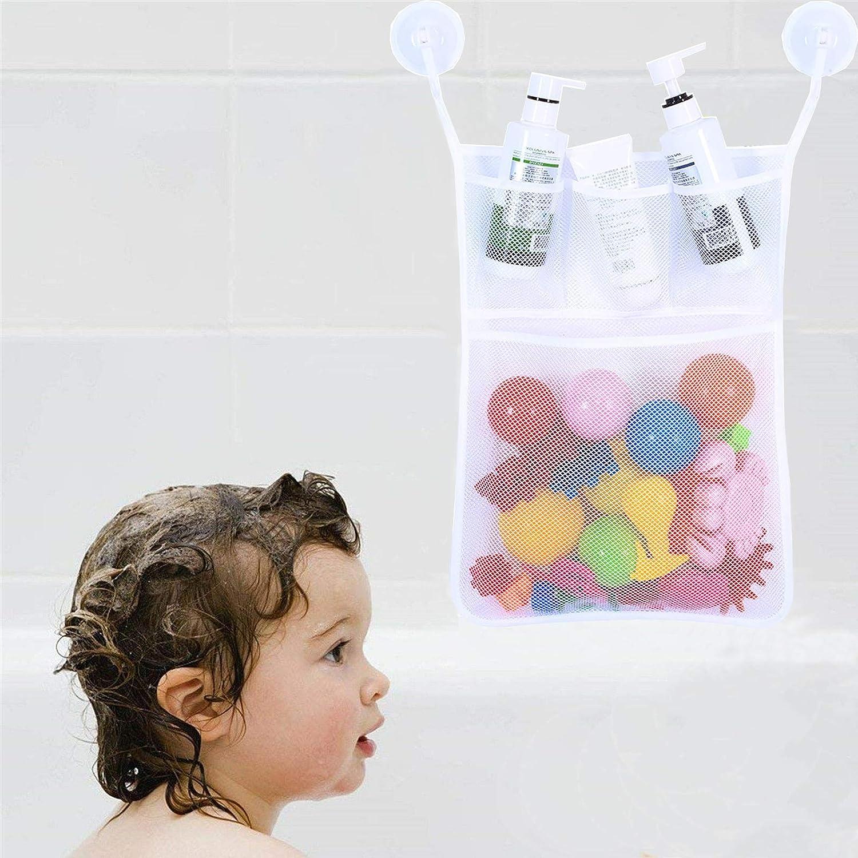 Bathroom Kids Baby Bath Toy Bag Net Tidy Storage Tile Suckers 45x35cm Practical