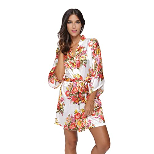 c267be8a67 KimonoDeals Women s dept Satin Short Floral Kimono Robe for Wedding Party