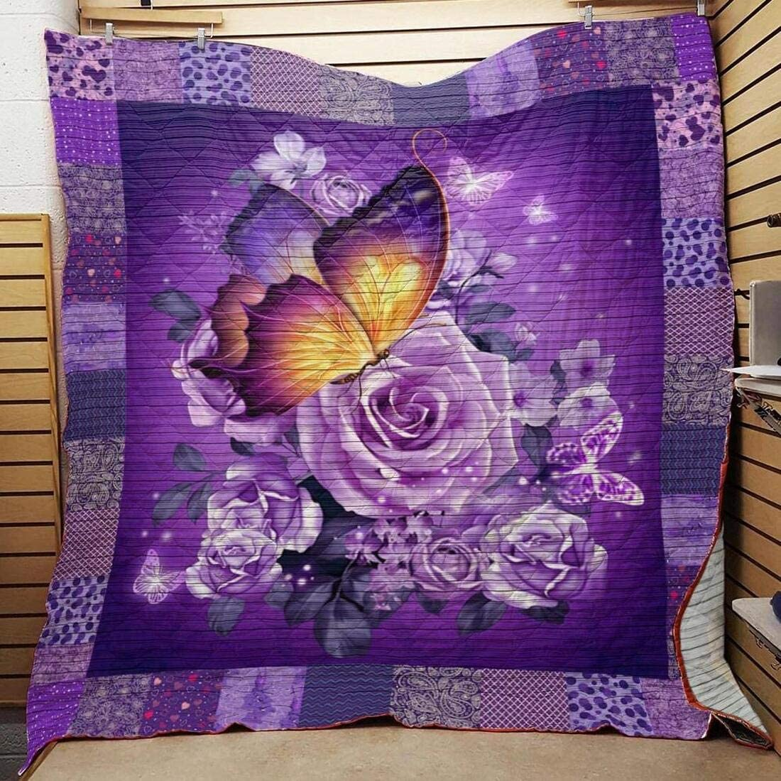 Personalized Seasonal Wrap Introduction Butterfly Love Purple OFFicial shop Flower Animal t Quilt -