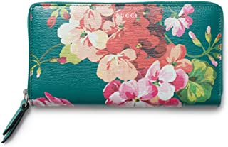 223d06efb94 Gucci Blooms Shanghai St Teal Green Blossoms Floral Leather Zip Around  Wallet Box New