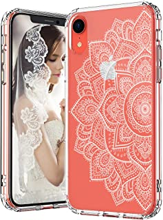 MOSNOVO iPhone XR Case, Clear iPhone XR Case, White Floral Henna Mandala Flower Pattern Clear Design Transparent Plastic Hard Back Case with TPU Bumper Protective Case Cover for Apple iPhone XR